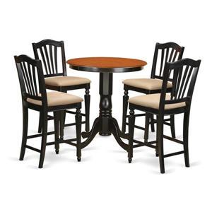 East West Furniture Eden Dining set - Wood - Black - 5 Pieces