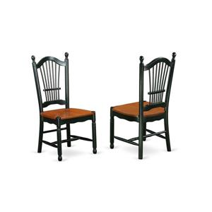 """East West Furniture Dover Dining Chair - 18"""" x 39"""" - Wood - Black/Cherry"""