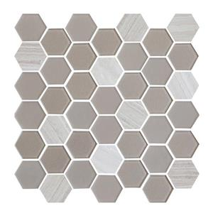 "Ceratec Lifestyle Exagon Wall Tiles - 12"" x 12"" - Glass - Taupe - 15 pcs"