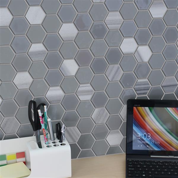 "Ceratec Lifestyle Exagon Wall Tile - 12"" x 12"" - Glass - Gray"