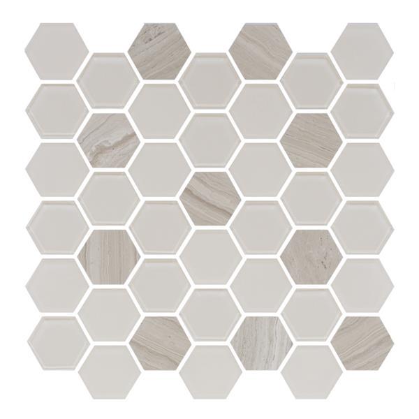 "Ceratec Lifestyle Exagon Wall Tiles - 12"" x 12"" - Glass - Cream - 15 pcs"