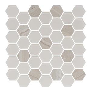 "Ceratec Lifestyle Exagon Wall Tile - 12"" x 12"" - Glass - Cream"