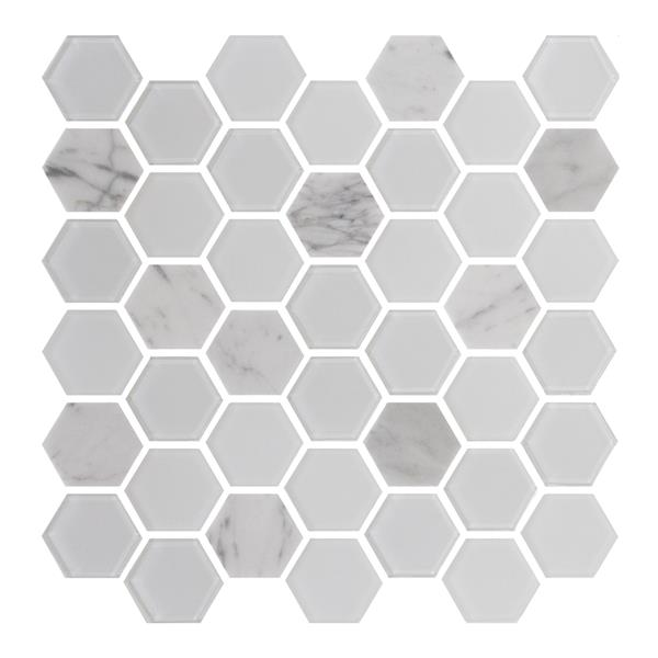 "Ceratec Lifestyle Exagon Wall Tile - 12"" x 12"" - Glass - White"