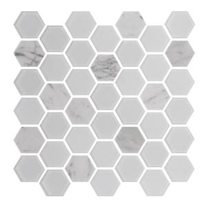 "Tuile murale Lifestyle Exagon, 12"" x 12"", verre, blanc"