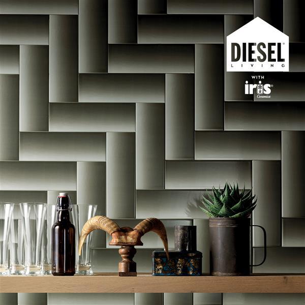 "Ceratec Diesel Shades Subway Wall Tile - 12"" - Ceramic - Green - 34 pcs"