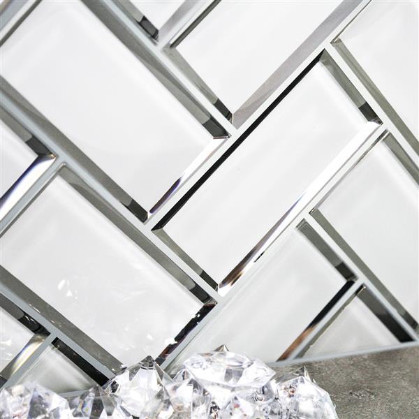 "Ceratec Wall Tiles - 12"" x 12"" - Glass - White - 10 pcs"