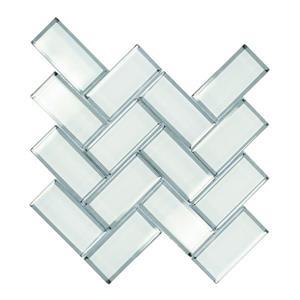 "Tuiles murales, 12"" x 12"", verre, blanc, 10 mcx"