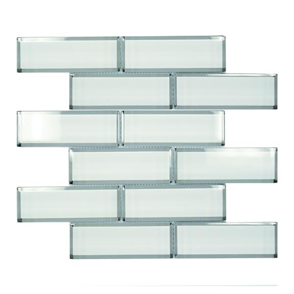 "Tuiles murales Lifestyle Crystal, 12"", verre, blanc, 10 mcx"