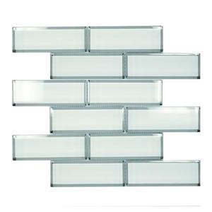 """Ceratec Wall Tile - 12"""" x 12"""" - Glass - White"""