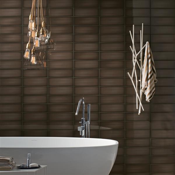 """Tuiles de plancher Iris Slide, 4"""" x 12"""", céramique, brun, 34 mcx"""