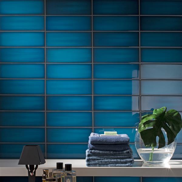 """Ceratec Iris Slide Floor Subway Tile - 4"""" x 12"""" - Ceramic - Blue - 34 pcs"""