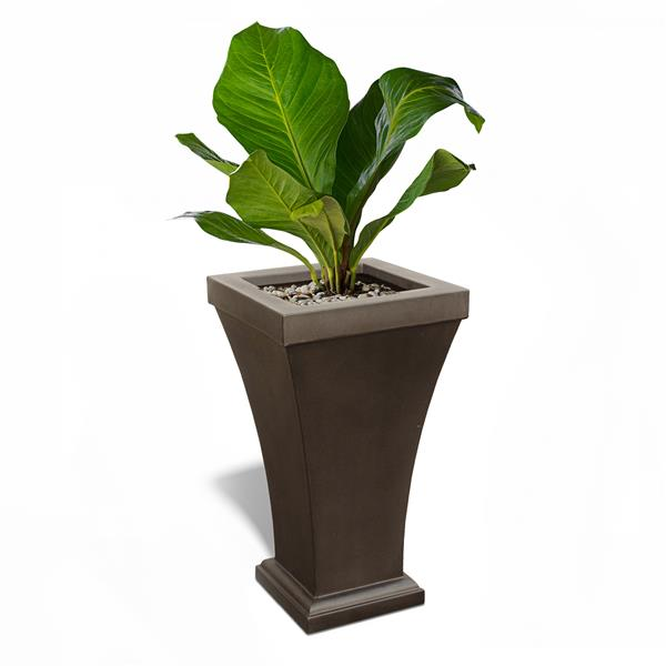 Mayne Bordeaux  Planter - 28-in - Espresso