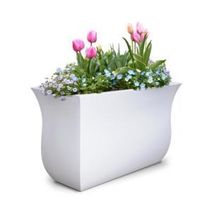 Jardinière haute Valencia, 16 po x 22 po, plastique, blanc