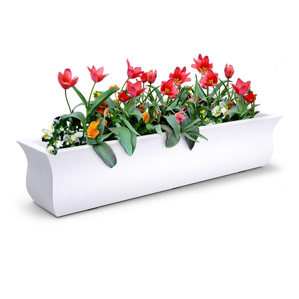 Mayne Valencia Window Box - 4-ft - Plastic - White