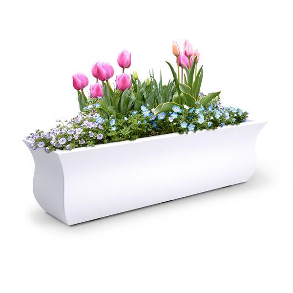"""Bac à fleurs Valencia, 9,8"""" x 10,1"""", plastique, blanc"""