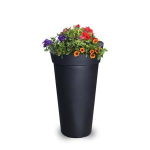 Jardinière haute Creston, 16 po x 28 po, plastique, noir