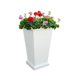 Mayne Wellington Tall Planter - 16-in x 28-in - Plastic - White