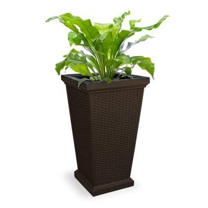 Mayne Wellington Tall Planter - 16-in x 28-in - Plastic - Brown