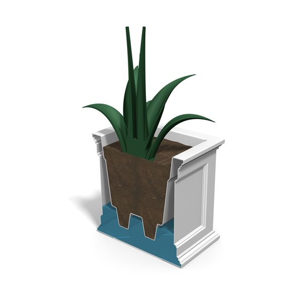 Mayne Fairfield Patio Planter - 20-in x 36-in- Plastic - White