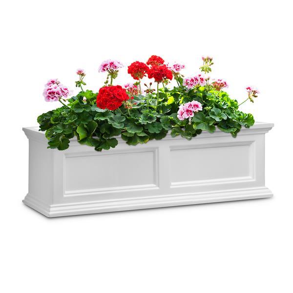 """Bac à fleurs Fairfield, 11"""" x 11"""", plastique, blanc"""