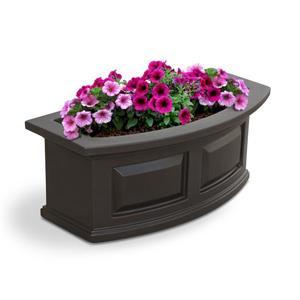 Bac à fleurs Nantucket, 11,5 po x 10 po, plastique, brun