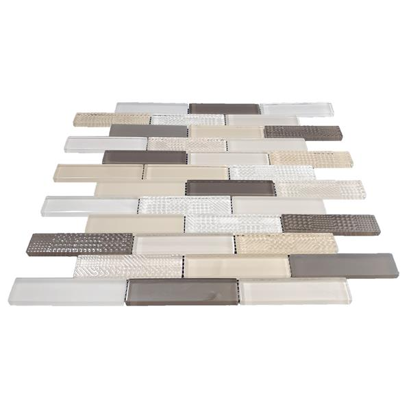 "Mosaic Oakville - 12"" x 12""  - Glass - Beige/Brown - 10-pack"