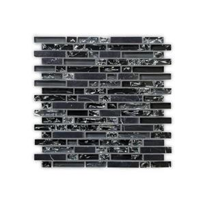 JL Tile Bristol Backsplash Tile - 12-in x 12-in - Glass/Black - 10-pack