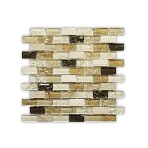 JL Tile Bristol Backsplash Tile - 12-in - Glass/Beige/Brown - 10-pack