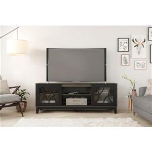 Nexera 402324 Venus TV Stand, 72-inch, Bark Grey and Black