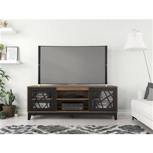 Nexera Graphik TV Stand, 72-inch, Nutmeg and Black