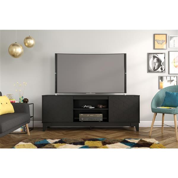 Nexera Hexagon TV Stand, 72-inch, Black