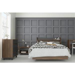 Nexera Neptune 4 Piece Full Size Bedroom Set, Walnut & Charcoal