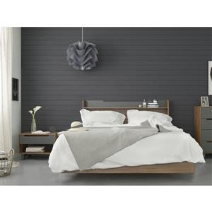 Nexera Neptune 3 Piece Queen Size Bedroom Set, Walnut & Charcoal