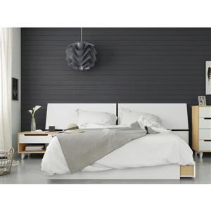 Ensemble chambre à coucher Queen 3 pcs Scandi, Érable/Blanc