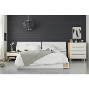 Nexera Scandi 4 Piece Queen Size Bedroom Set, Natural Maple & White
