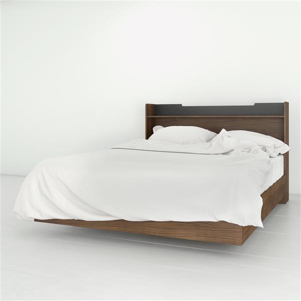 Ensemble chambre à coucher 2 pcs Neptune, Noyer/Gris, grand lit