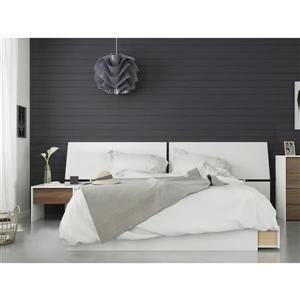 Ensemble chambre à coucher Queen 3 pcs Modus, Noyer/Blanc