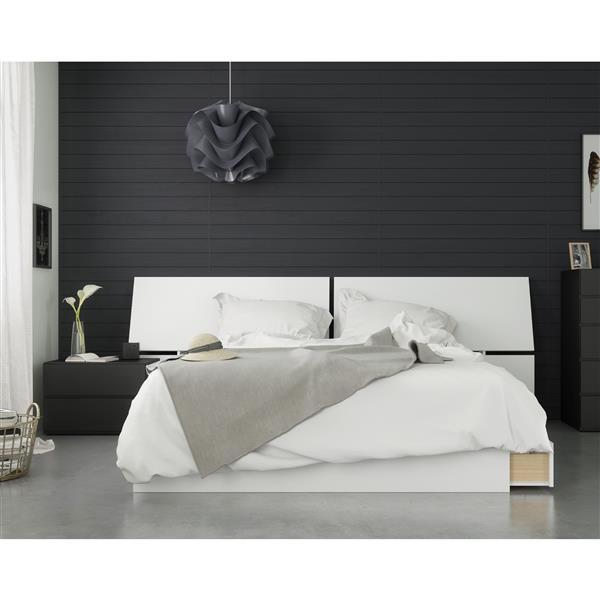 Ensemble chambre à coucher Queen 3 pcs Context, Noir/Blanc