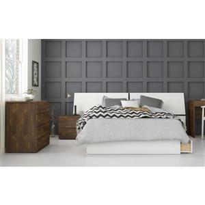 Arcadia 4 Piece Full Size Bedroom Set, Truffle & White