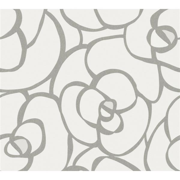 A.S. Creation Raffi Geometric Floral Wallpaper Roll - 21-in - White/Grey