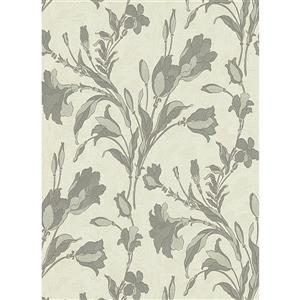 Erismann Rubina Floral Leaves Wallpaper Roll - 21-in - Light Green