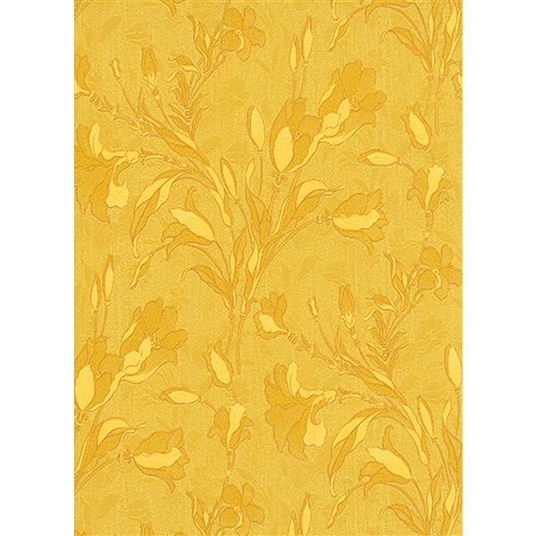 Erismann Rubina Floral Leaves Wallpaper Roll - 21-in - Yellow