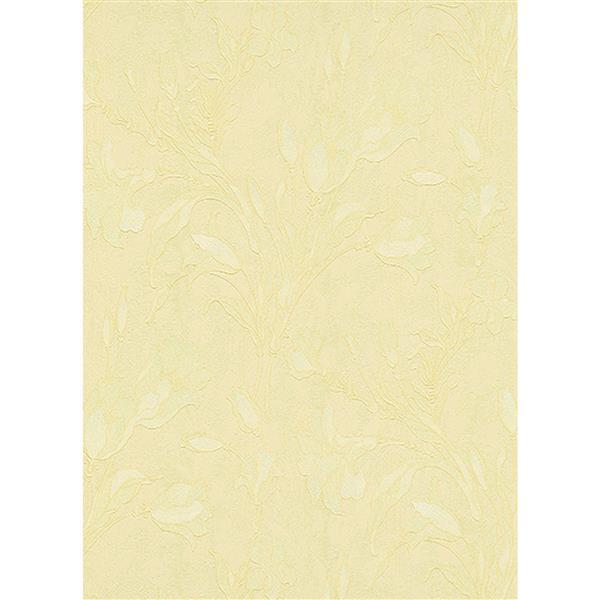 Erismann Rubina Floral Leaves Wallpaper Roll - 21-in - Beige