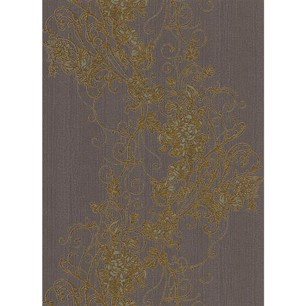 Erismann Rubina Floral Leaves Wallpaper Roll - 21-in - Light Brown
