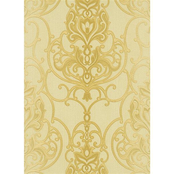 Erismann Rubina Floral Leaves Wallpaper Roll - 21-in - Beige/Yellow