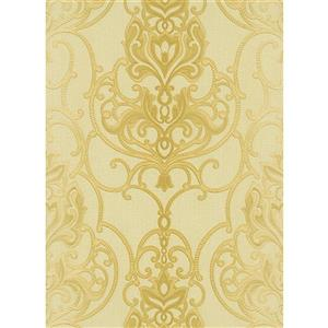 Erismann Rubina Floral Leaves Wallpaper Roll - 21-in - Beige/Yellow
