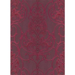 Erismann Rubina Floral Leaves Wallpaper Roll - 21-in - Bordeaux