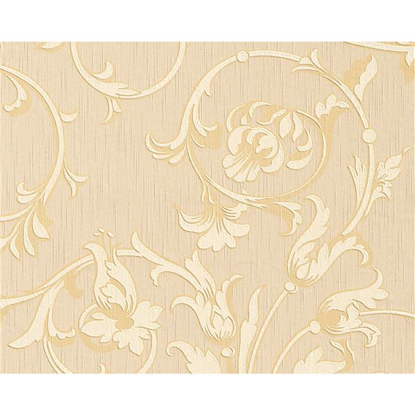 A.S. Creation Tessuto Baroque Wallpaper Roll - 21 -in - Beige