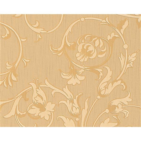 A.S. Creation Tessuto Baroque Wallpaper Roll - 21 -in - Beige/Orange