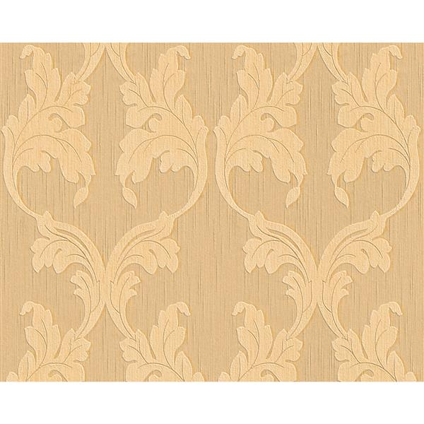A.S. Creation Tessuto Baroque Wallpaper Roll - 21 -in - Beige/Orange